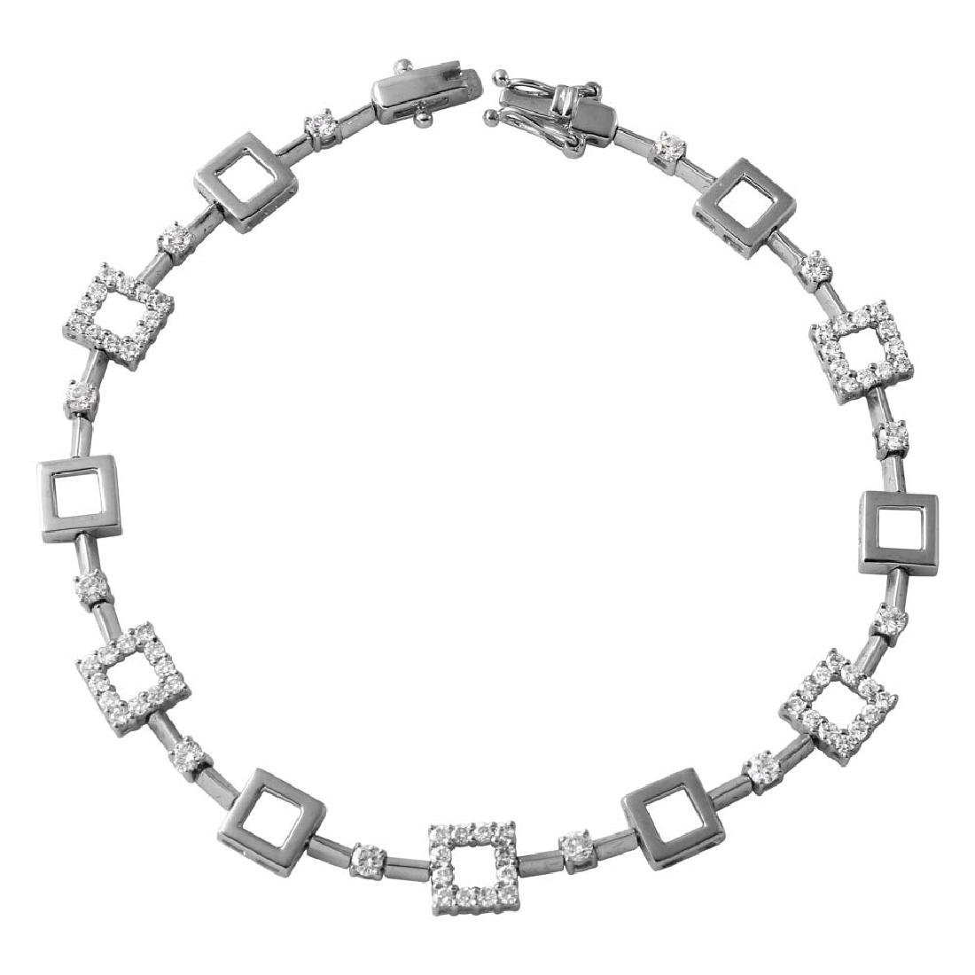 Genuine 1.05 TCW 18K White Gold Ladies Bracelet