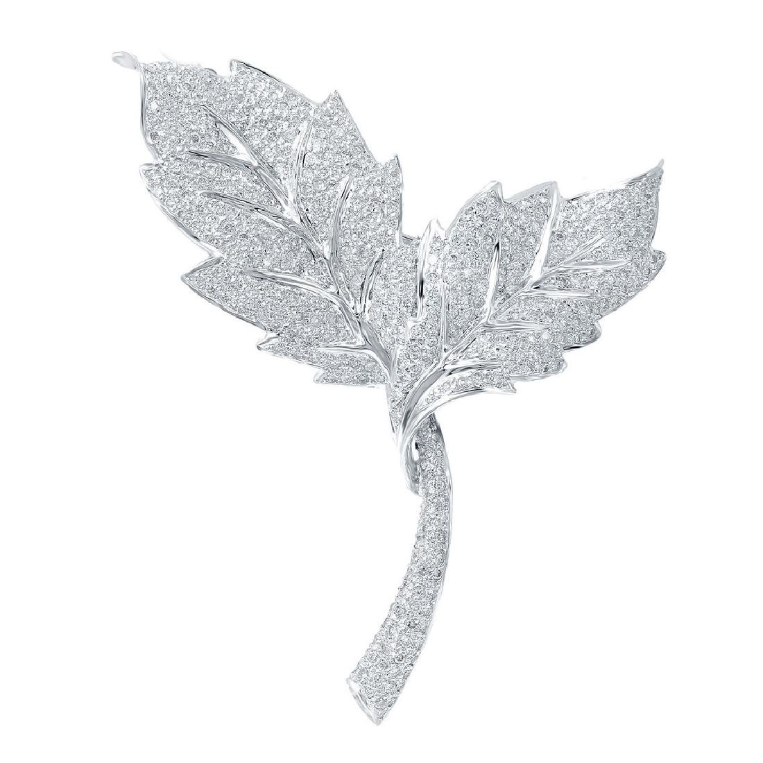 Genuine 1.9 TCW 14K White Gold Ladies Brooch