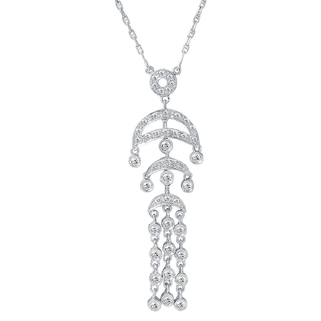 Genuine 0.63 TCW 18K White Gold Ladies Necklace