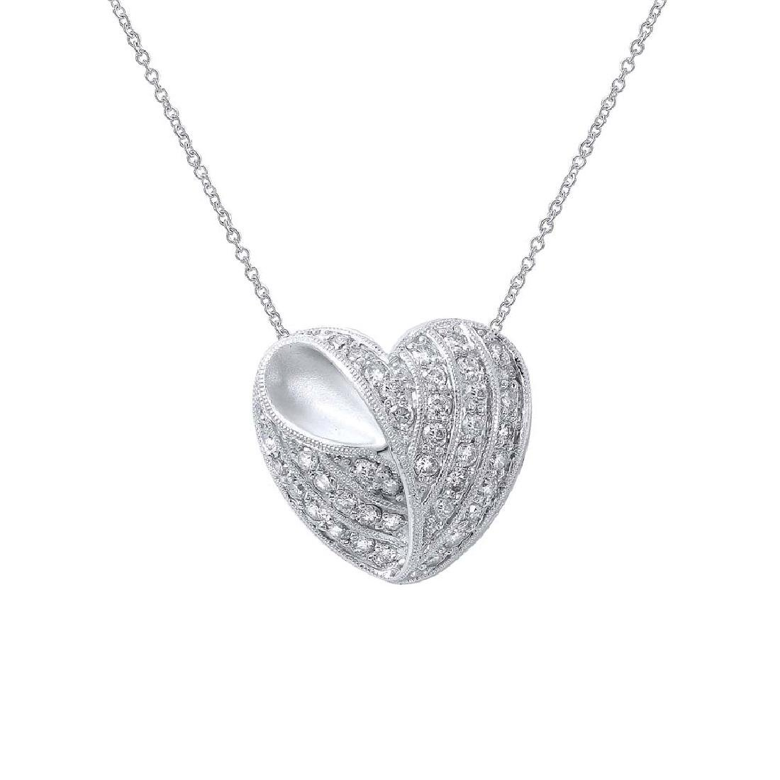 Genuine 0.7 TCW 14K White Gold Ladies Necklace