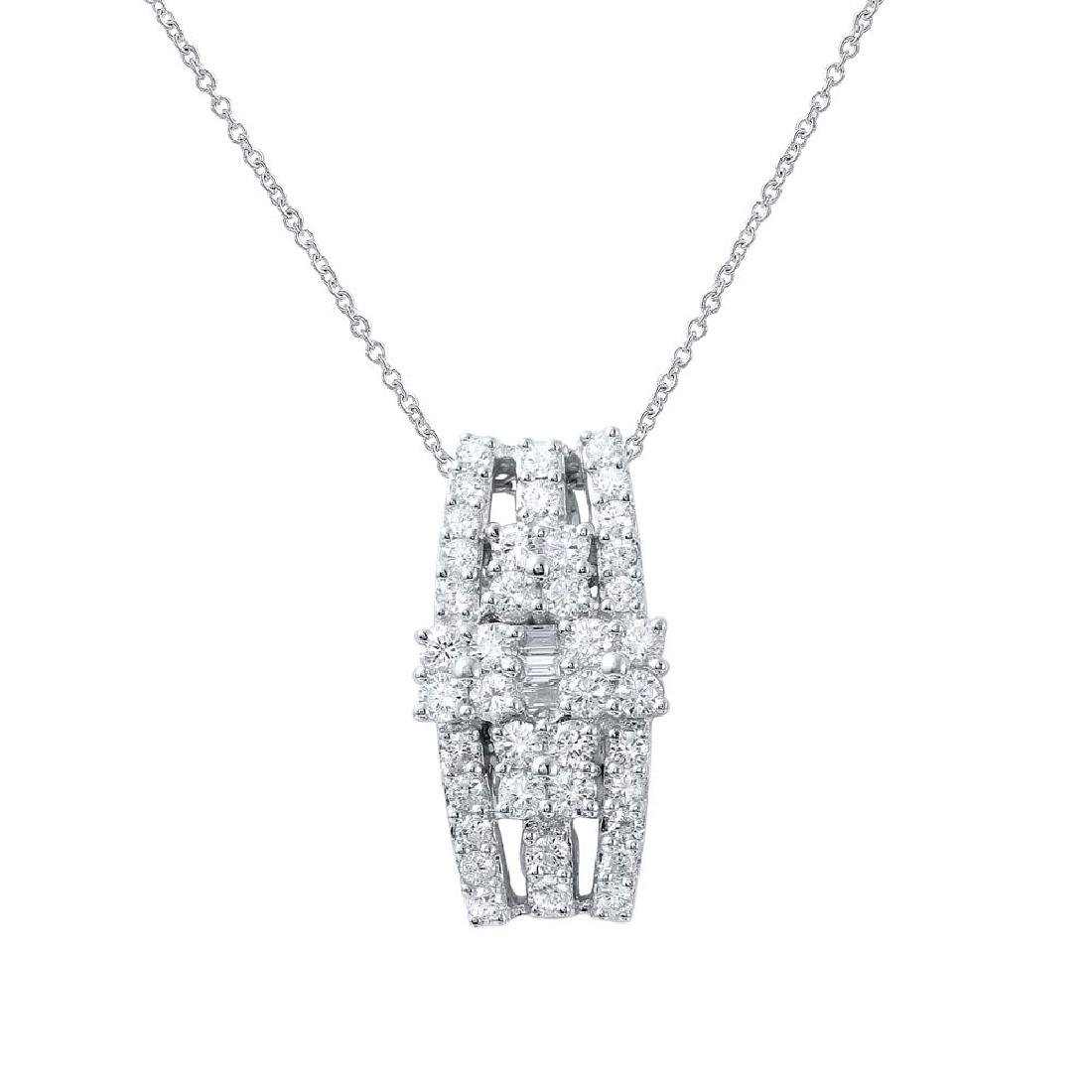 Genuine 1.07 TCW 18K White Gold Ladies Necklace