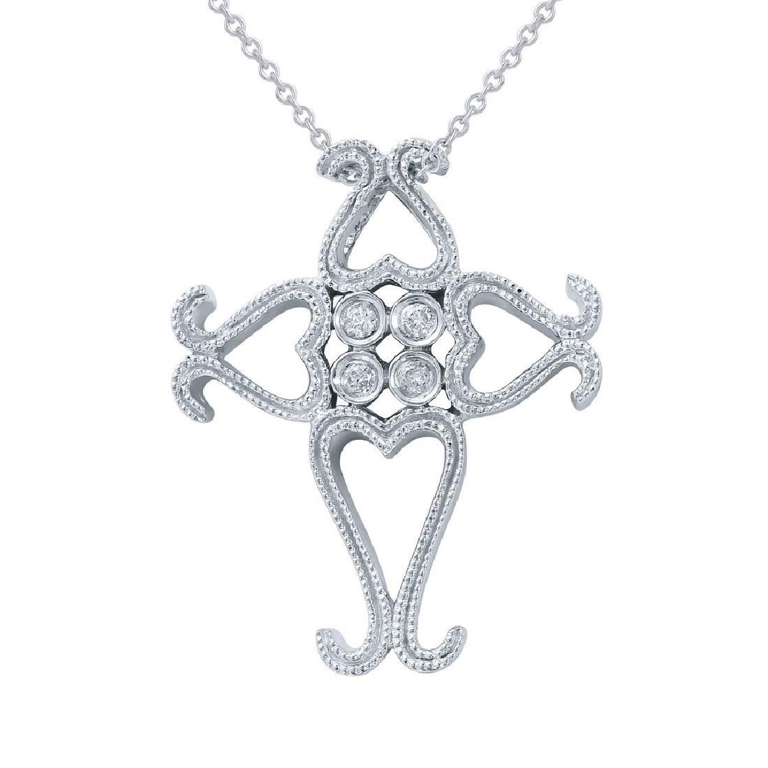 Genuine 0.07 TCW 14K White Gold Ladies Necklace