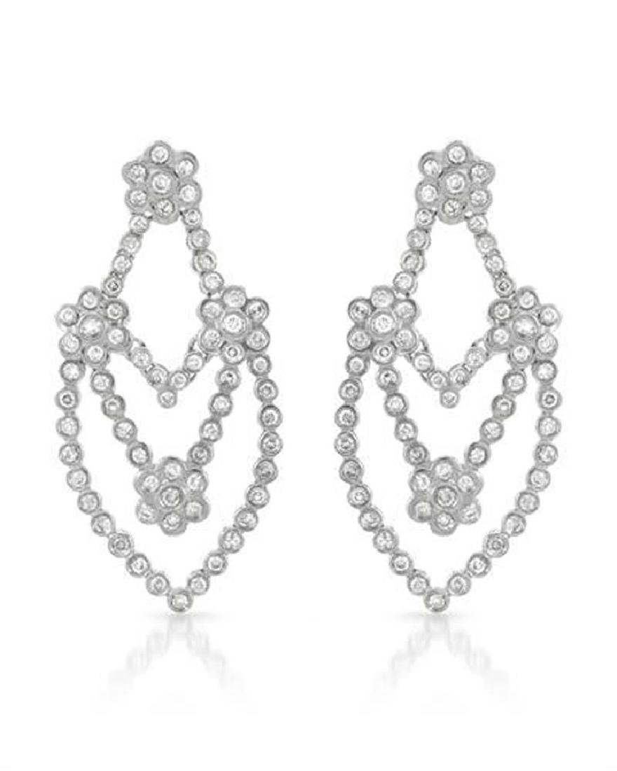 Genuine 2.09 TCW 14K White Gold Ladies Earring