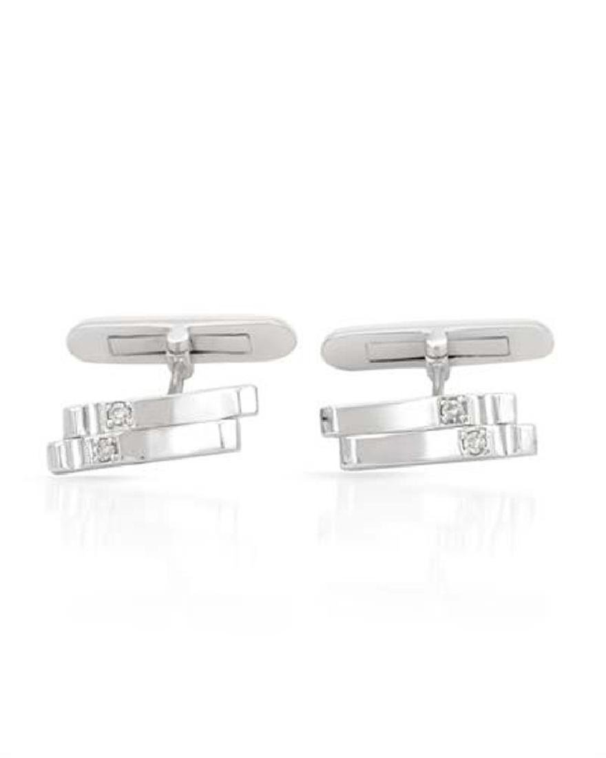 Genuine 0.11 TCW 14K White Gold Ladies Cuff Links