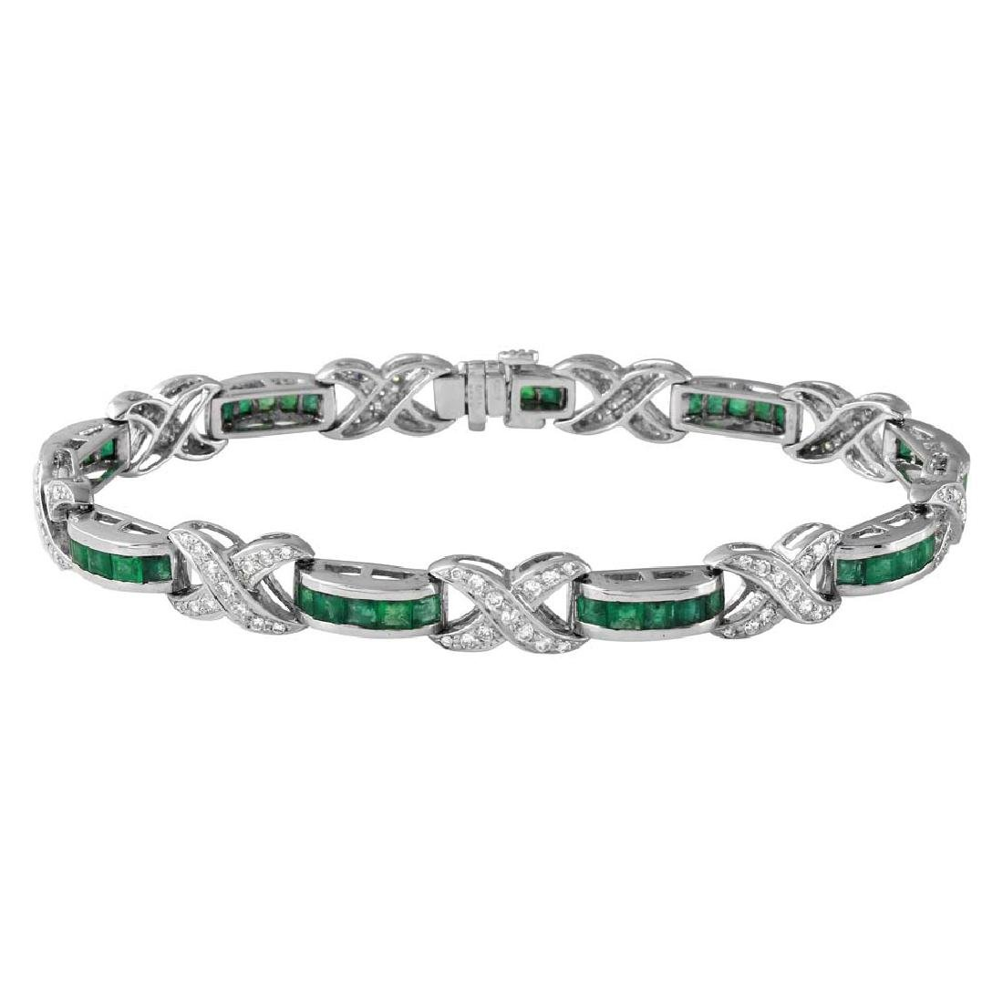 Genuine 1.21 TCW 18K White Gold Ladies Bracelet