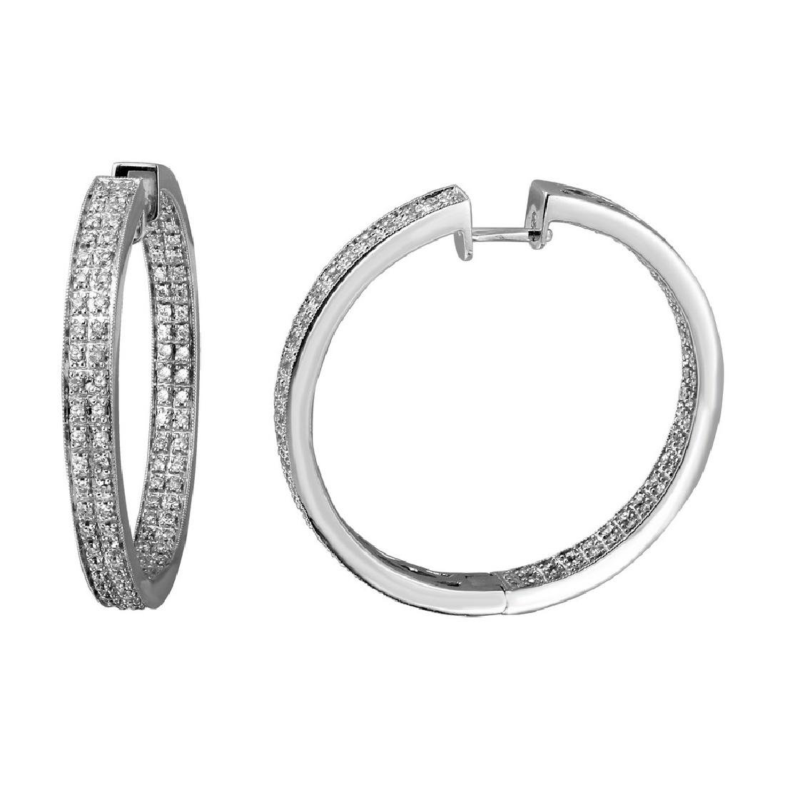 Genuine 1.4 TCW 14K White Gold Ladies Earring