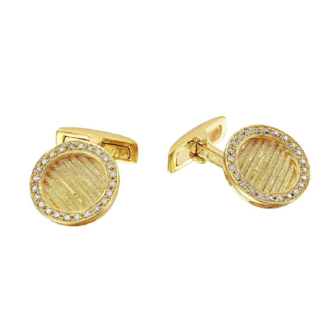 Genuine 0.46TCW 18K Yellow Gold Ladies Cuff Links