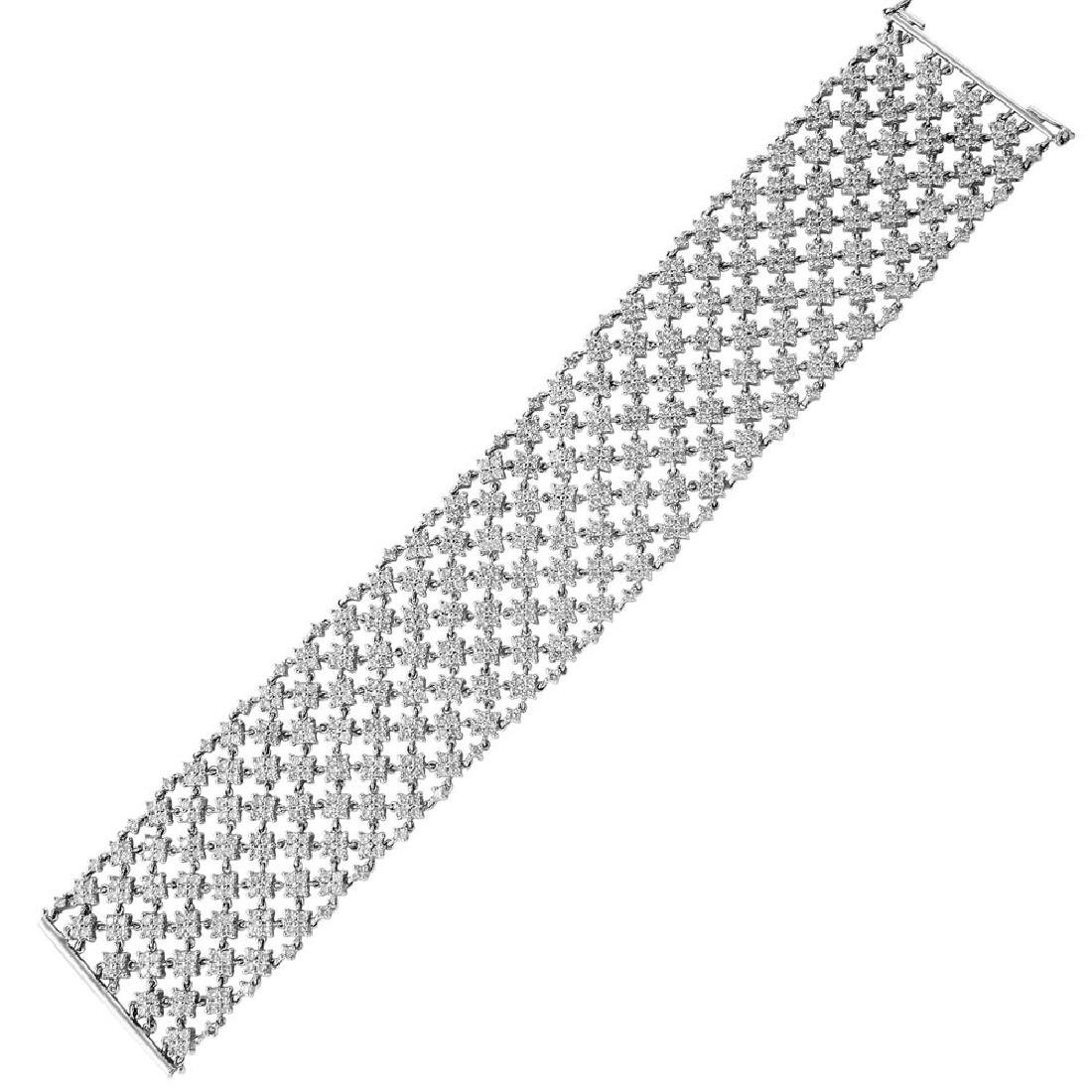 Genuine 14.18 TCW 18K White Gold Ladies Bracelet