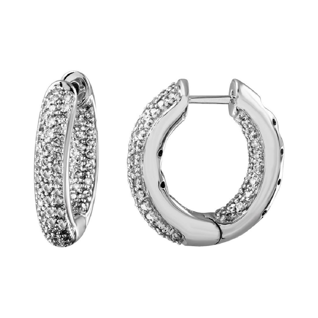 Genuine 0.82 TCW 14K White Gold Ladies Earring