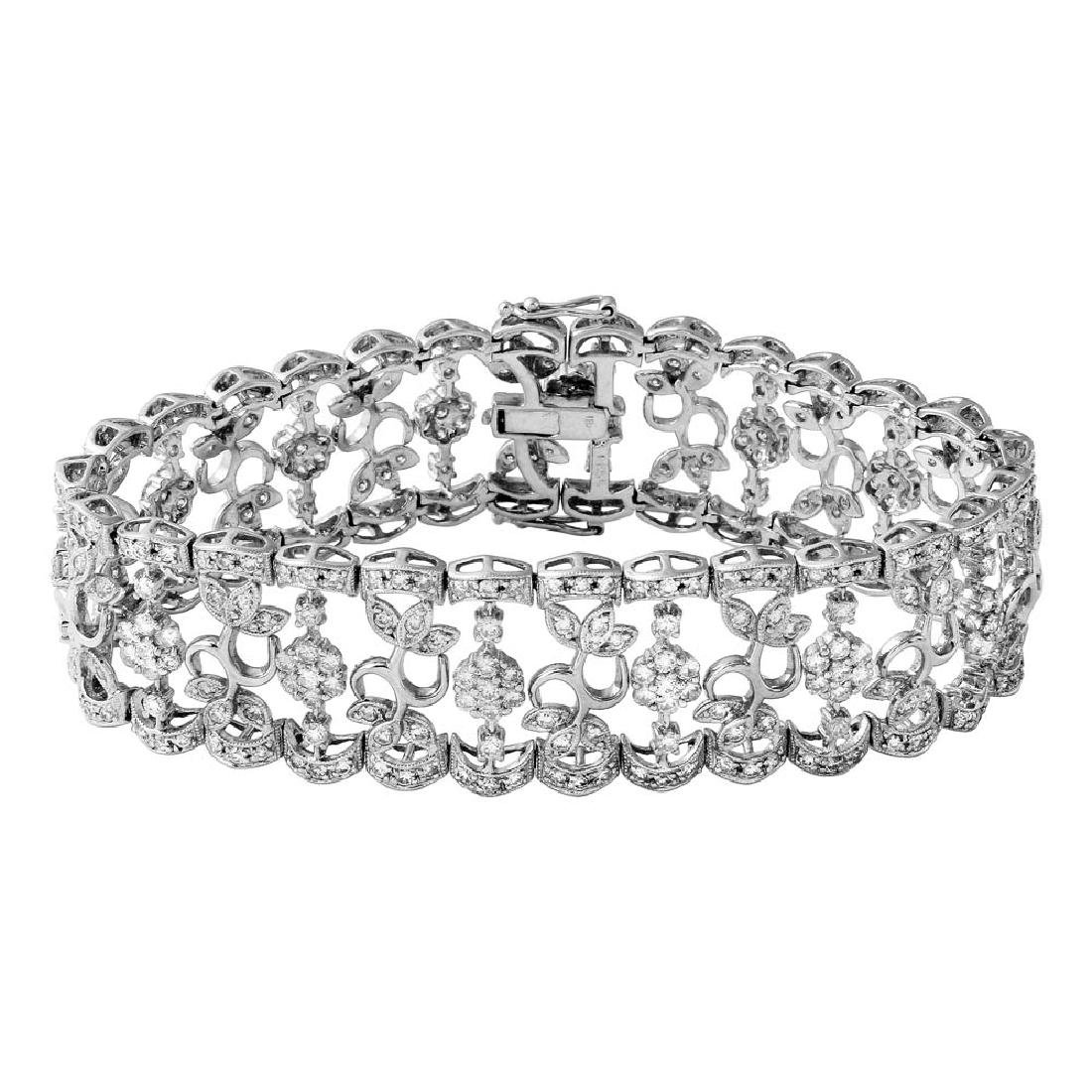 Genuine 6.55 TCW 18K White Gold Ladies Bracelet