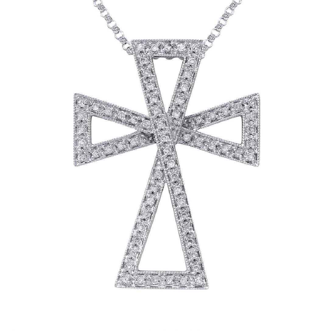 Genuine 0.28 TCW 14K White Gold Ladies Necklace
