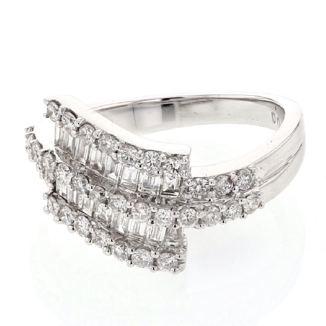 Round & Baguette Diamond Ring in 18K White Gold