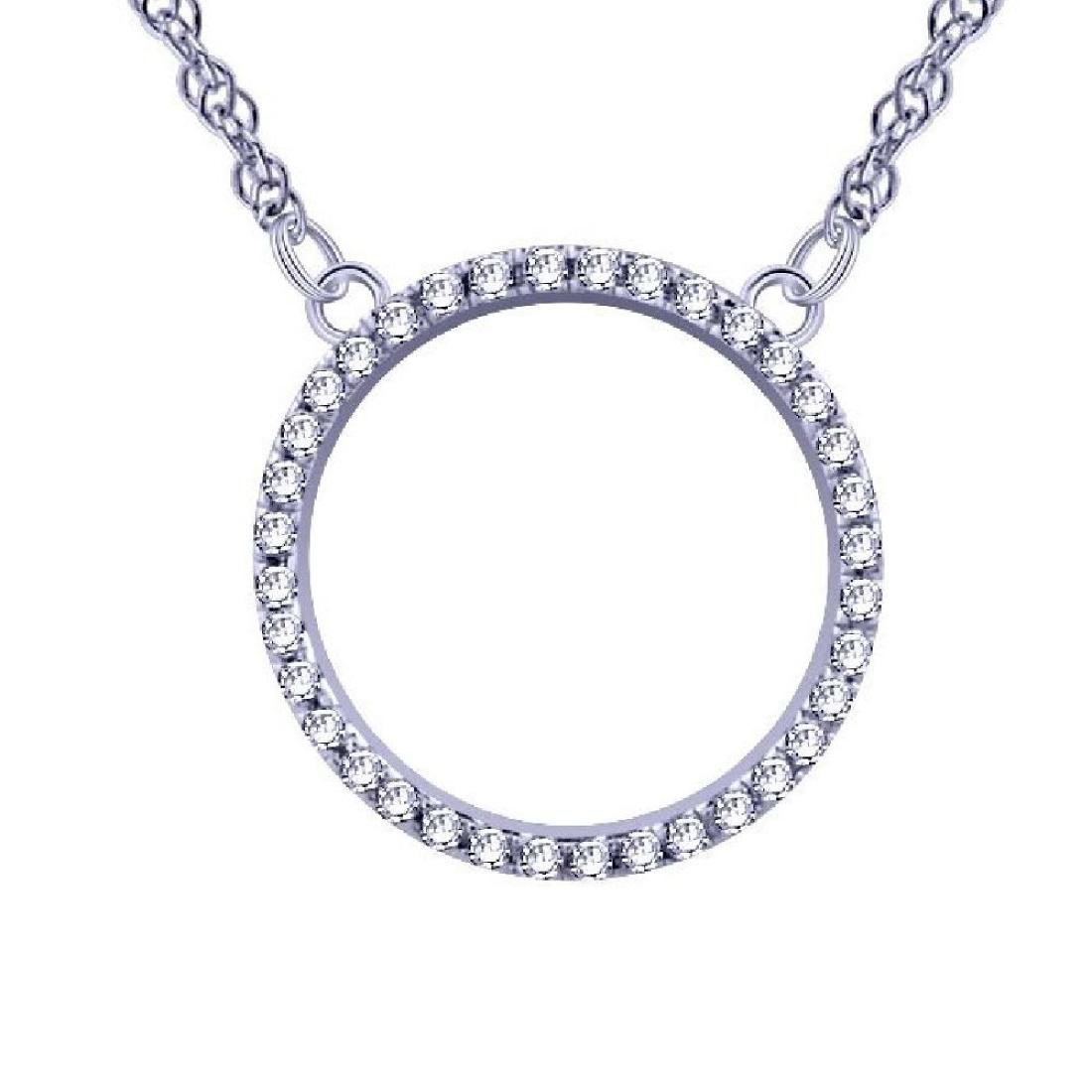 14K White Gold 0.05CTW Ladies Diamond Pendant