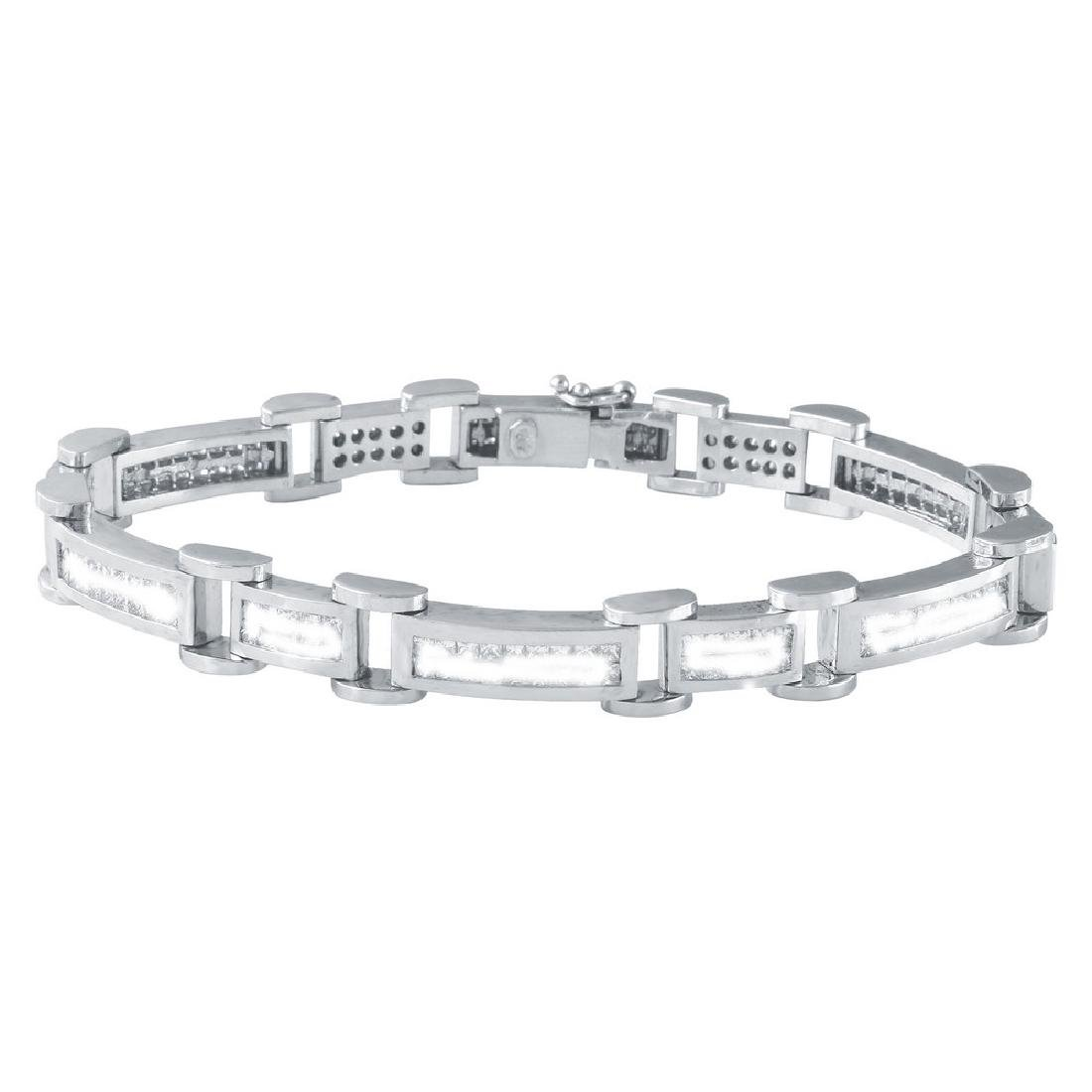 Genuine 4.9 TCW 18K White Gold Ladies Bracelet