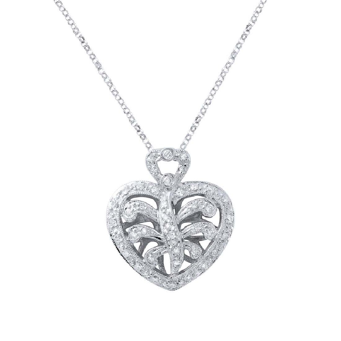 Genuine 0.3 TCW 18K White Gold Ladies Necklace