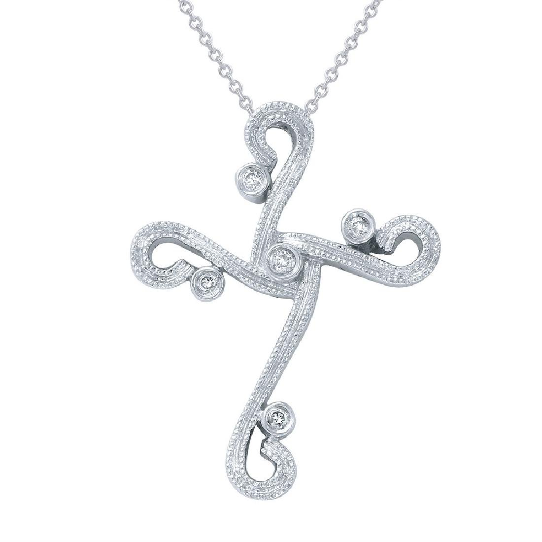 Genuine 0.06 TCW 14K White Gold Ladies Necklace