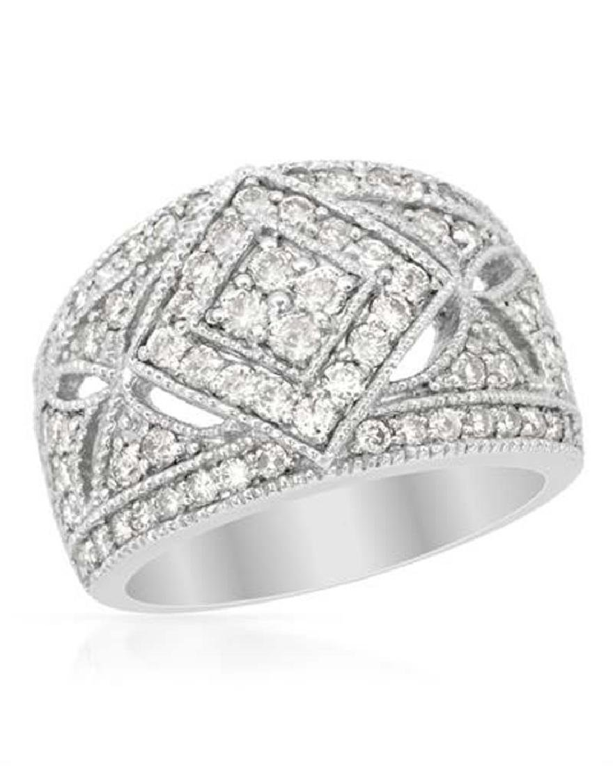 Genuine 1.48 TCW 14K White Gold Ladies Ring