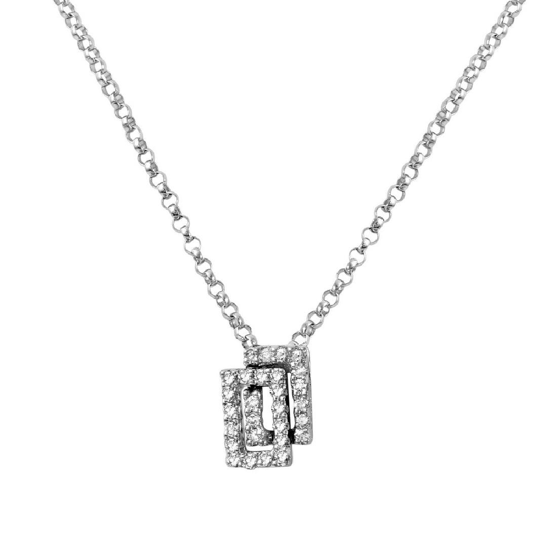 Genuine 0.13 TCW 14K White Gold Ladies Necklace