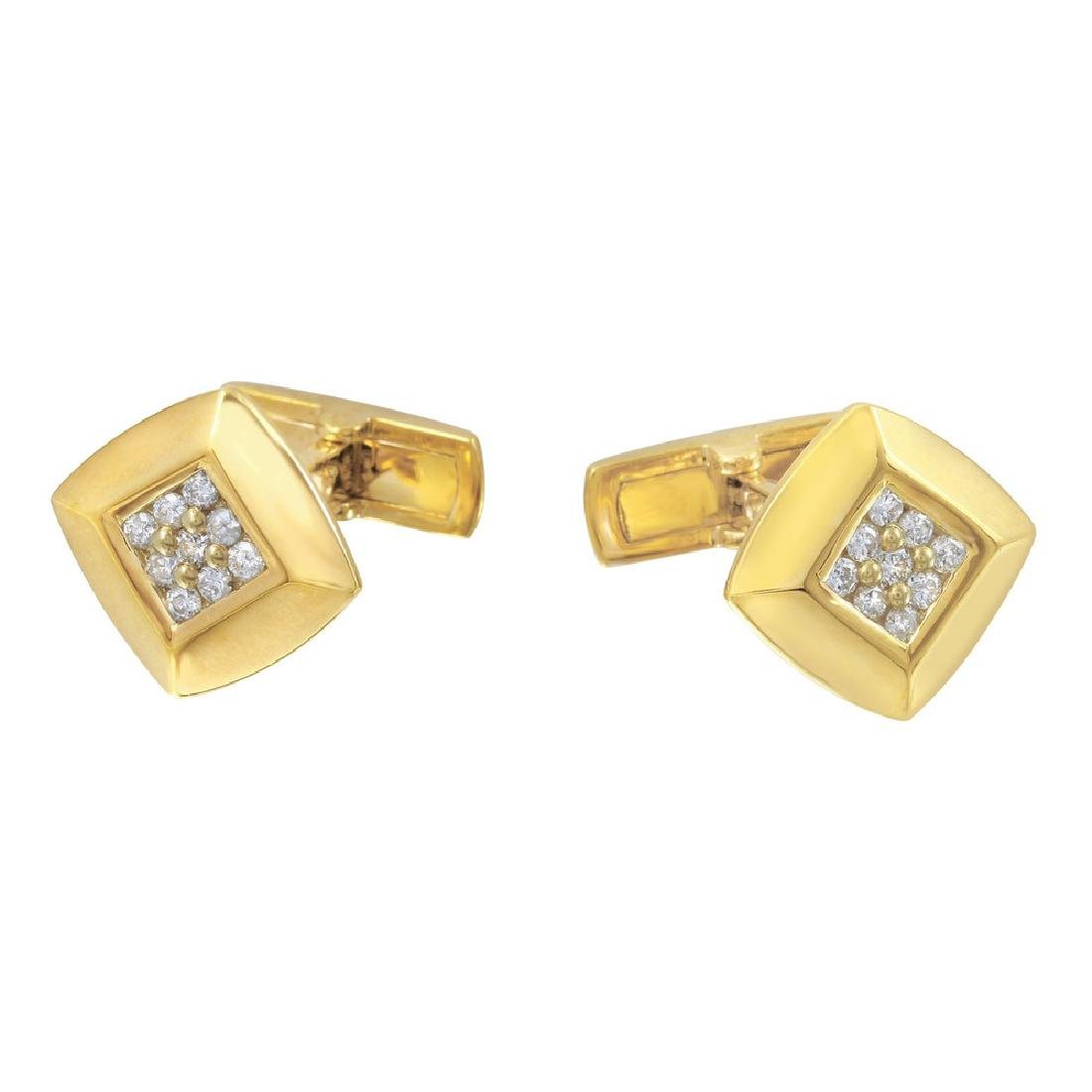 Genuine 0.48TCW 18K Yellow Gold Ladies Cuff Links