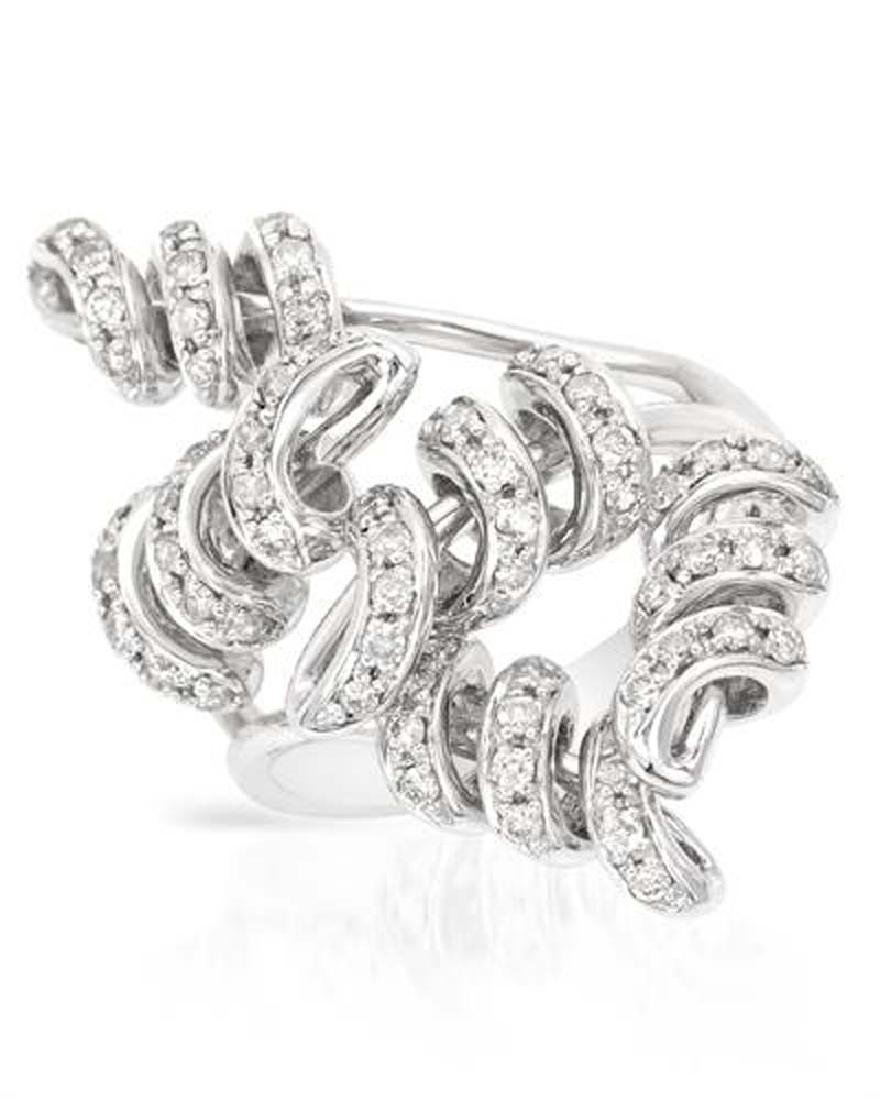 Genuine 0.71 TCW 14K White Gold Ladies Ring