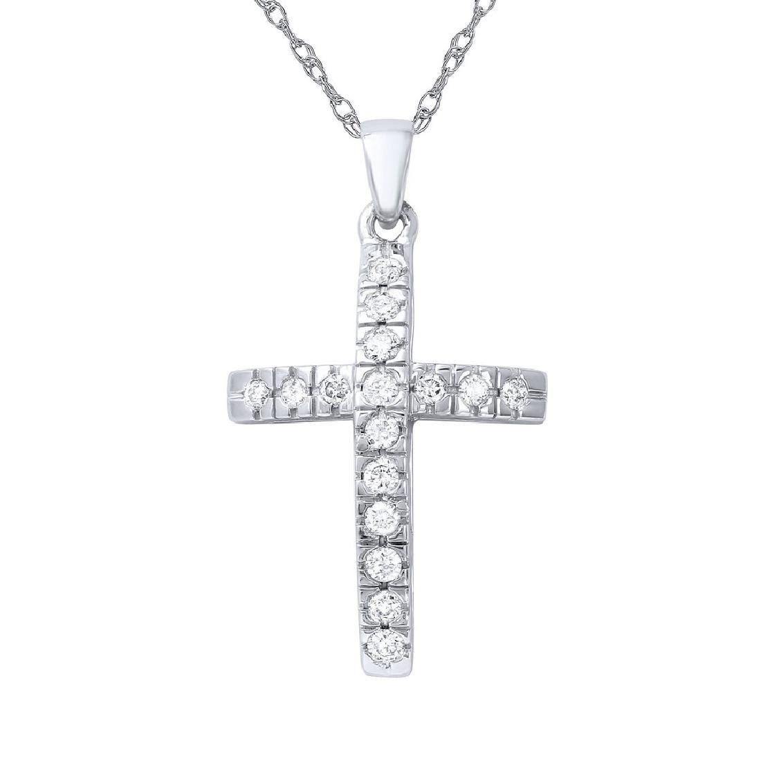 Genuine 0.35 TCW 14K White Gold Ladies Necklace