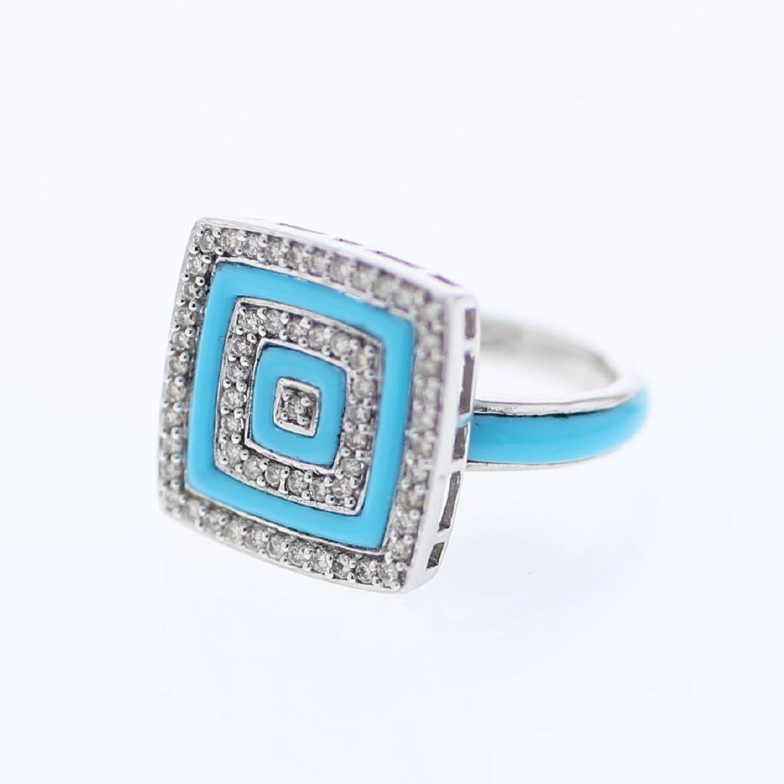 Square Turquoise Inlay w/ Prong-set Diamond Ring in 14K