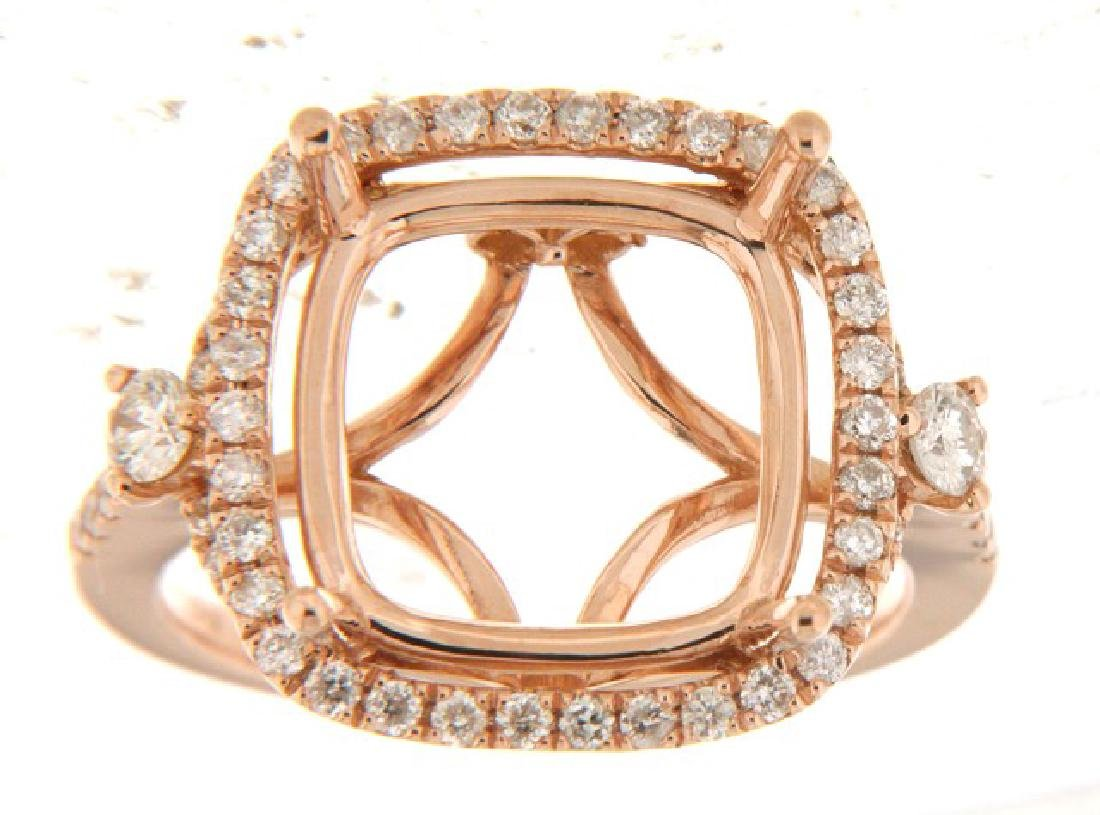 0.67 CTW Diamond Semi Mount  Ring in 14K Rose Gold