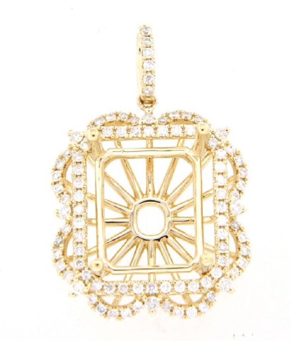 0.77 CTW Diamond Semi Mount  Necklace in 14K Yellow
