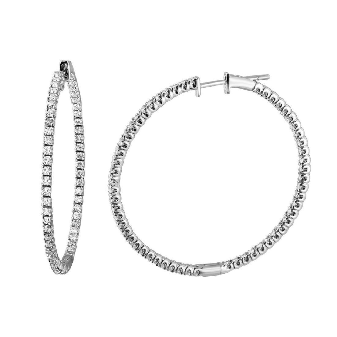 1.06 CTW Diamond Hoop  Earring in 14K White Gold