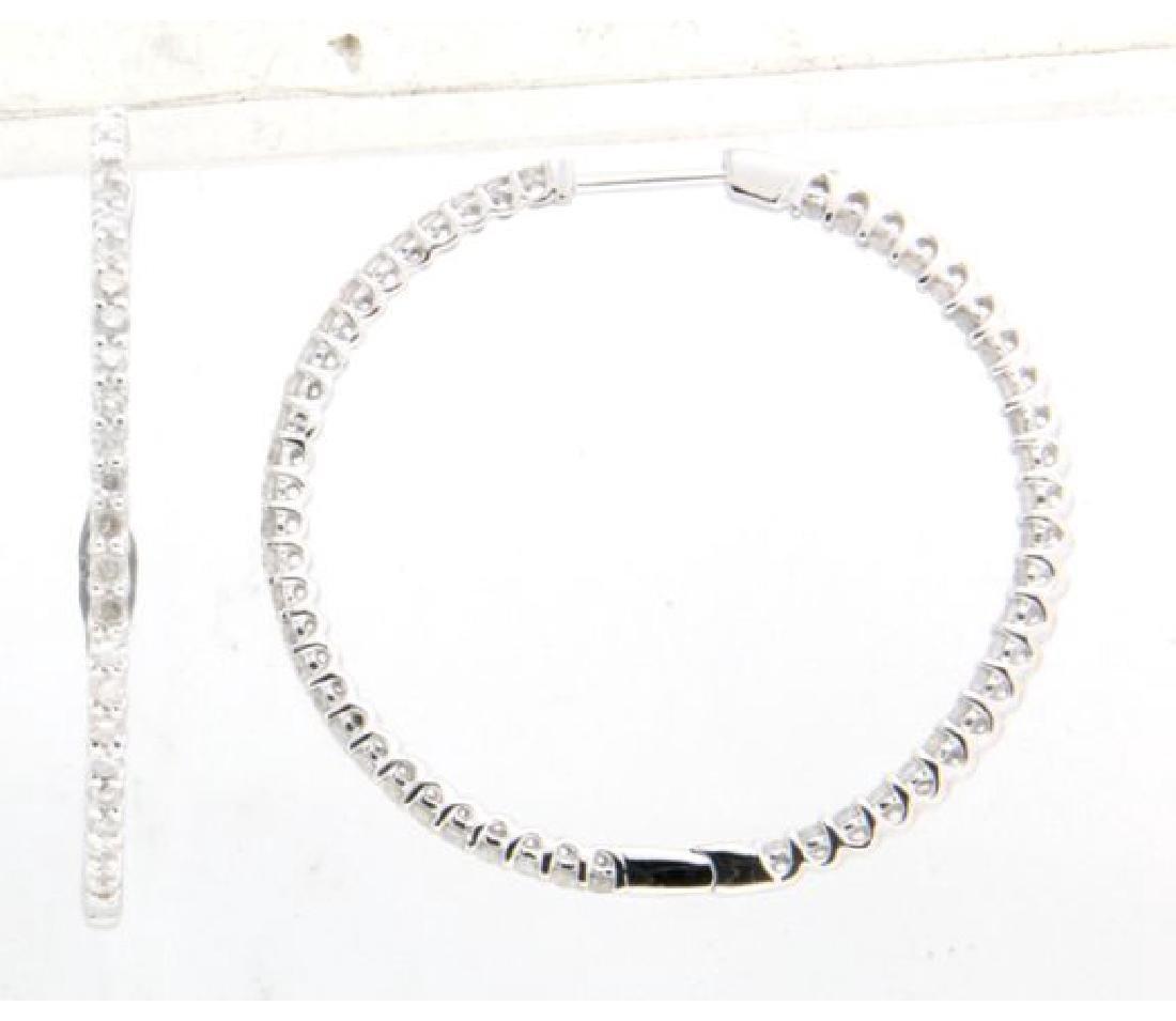 1.78 CTW Diamond Hoop Earring in 14K White Gold