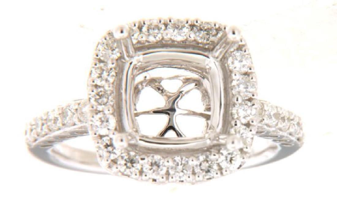 0.73 CTW Diamond Semi Mount  Ring in 14K White Gold