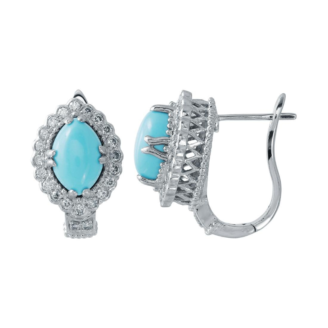 4.76 CTW Turquoise Huggy  Earring in 14K White Gold