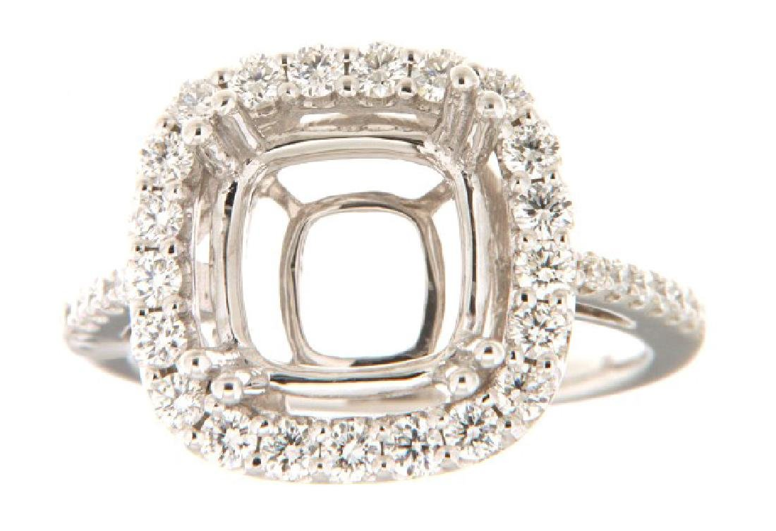0.77 CTW Diamond Semi Mount  Ring in 14K White Gold
