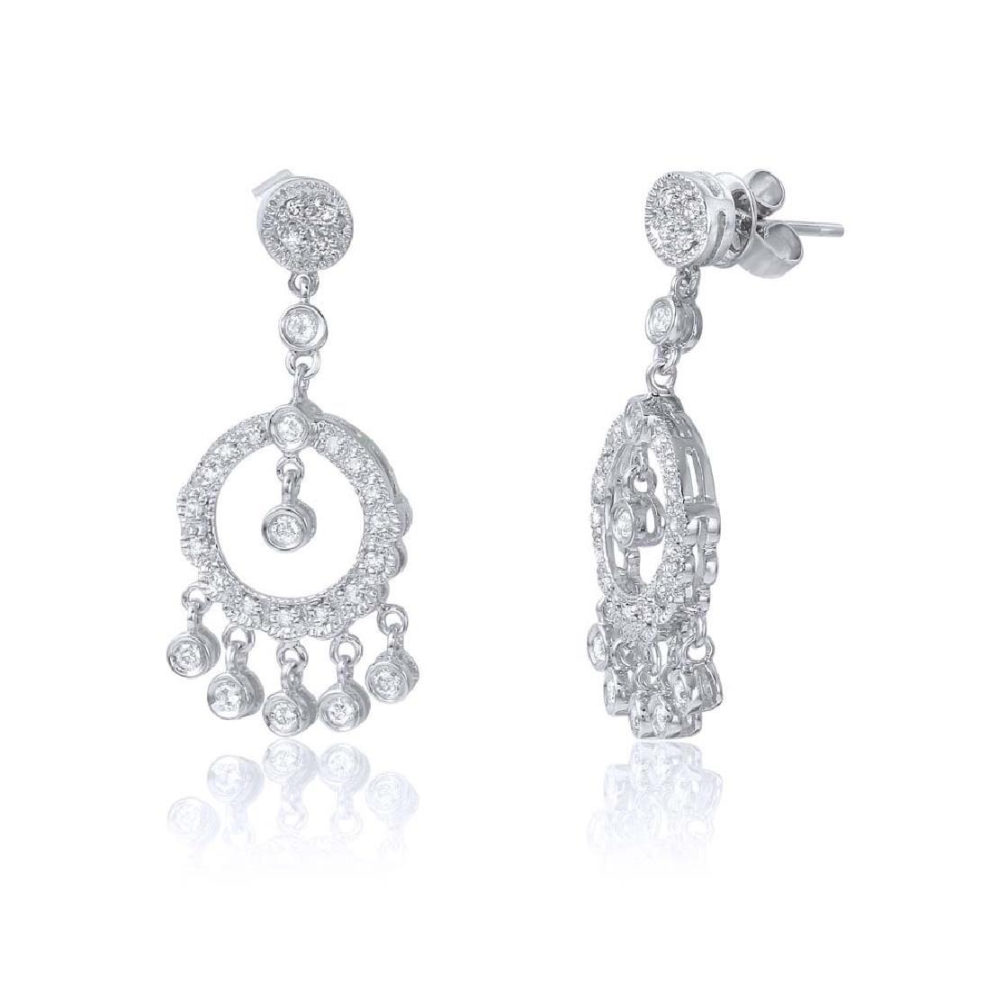 0.6 CTW Diamond Dangling  Earring in 18K White Gold