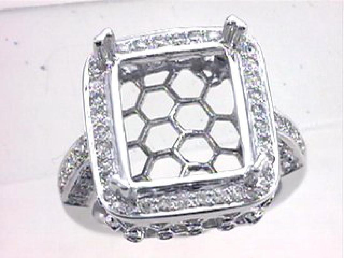 0.9 CTW Diamond Semi Mount  Ring in 14K White Gold