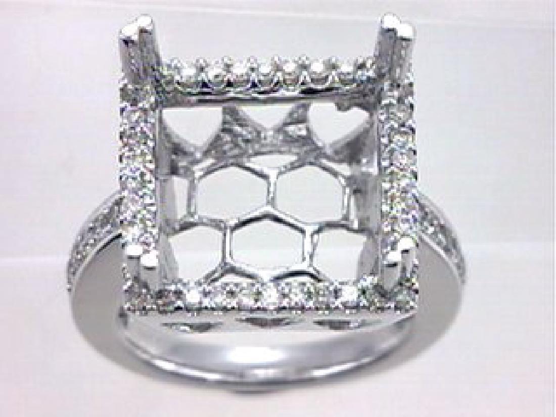 0.71 CTW Diamond Semi Mount  Ring in 14K White Gold