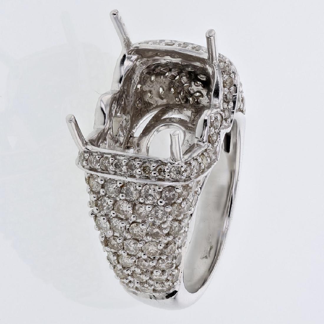 2.38 CTW Diamond Semi Mount  Ring in 14K White Gold