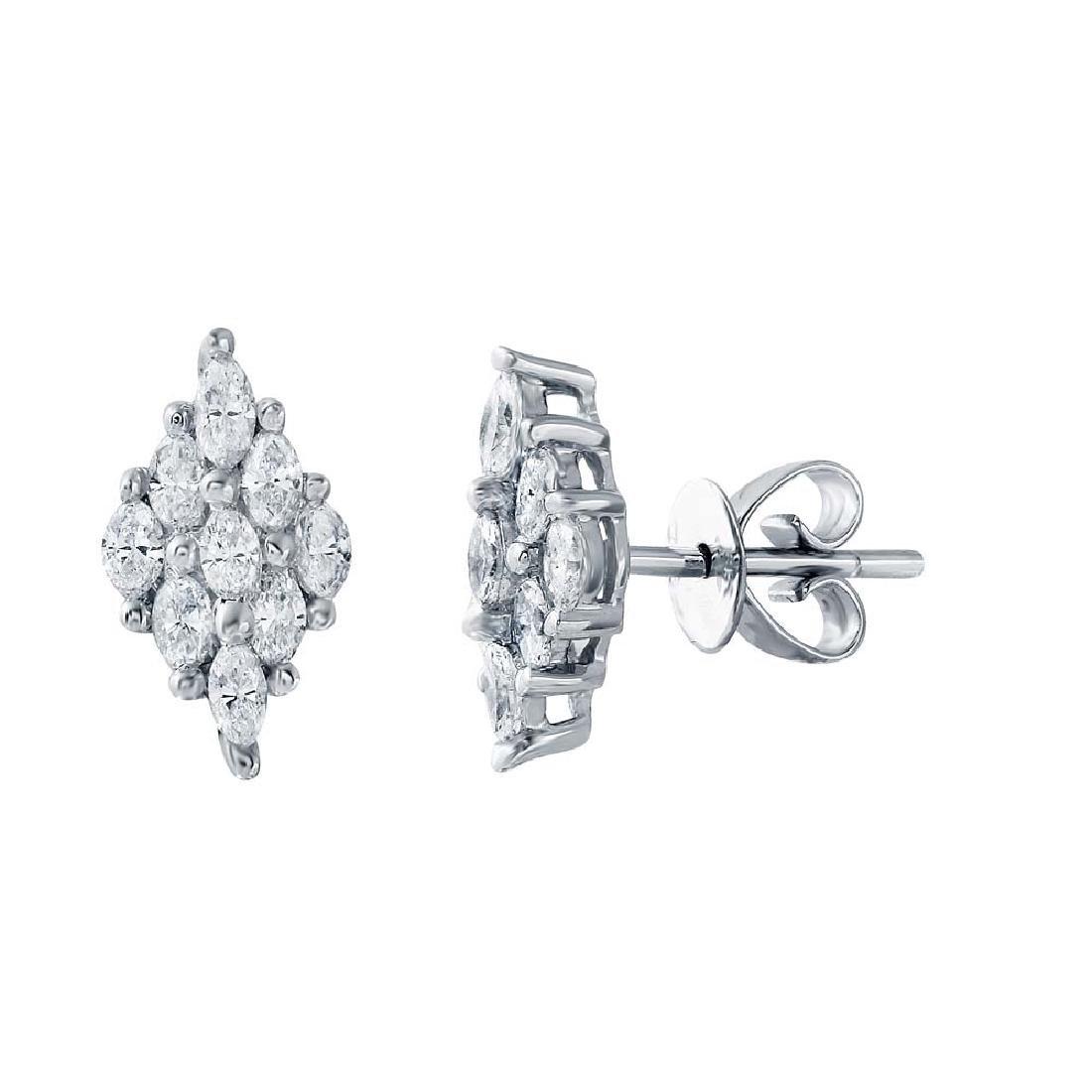 0.82 CTW Diamond Stud  Earring in 18K White Gold
