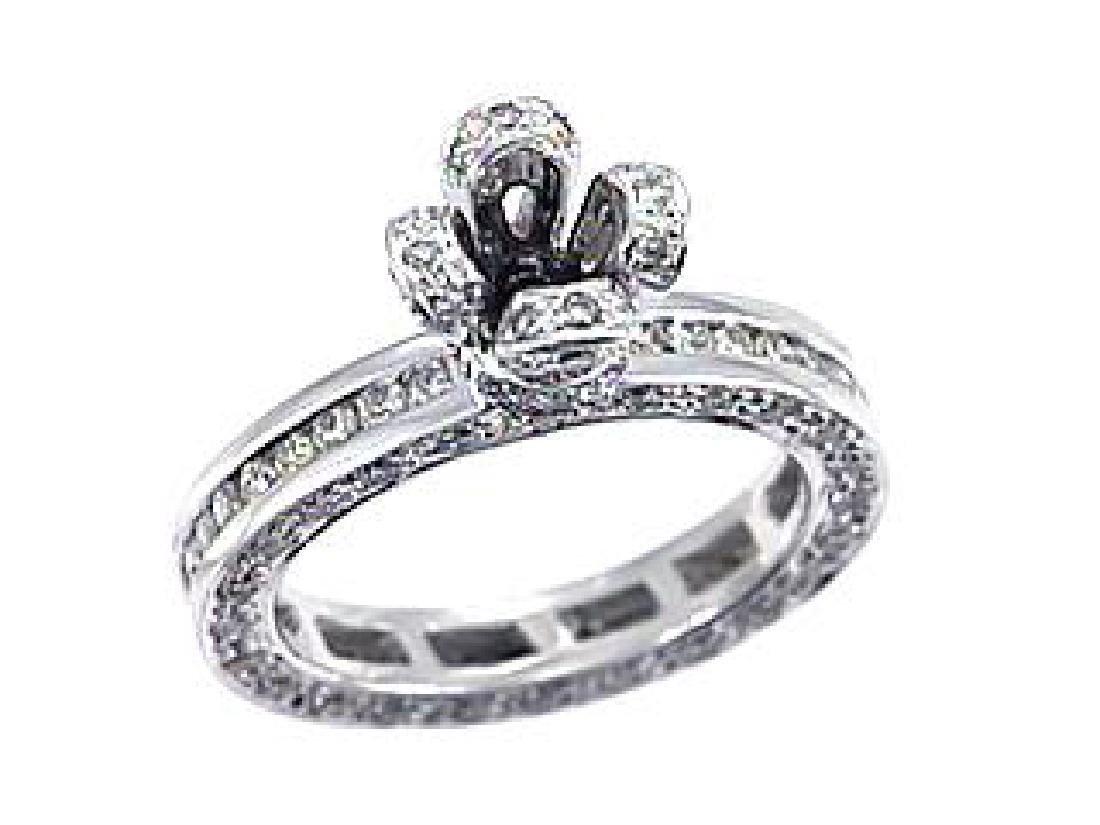 1.71 CTW Diamond Semi Mount  Ring in 14K White Gold