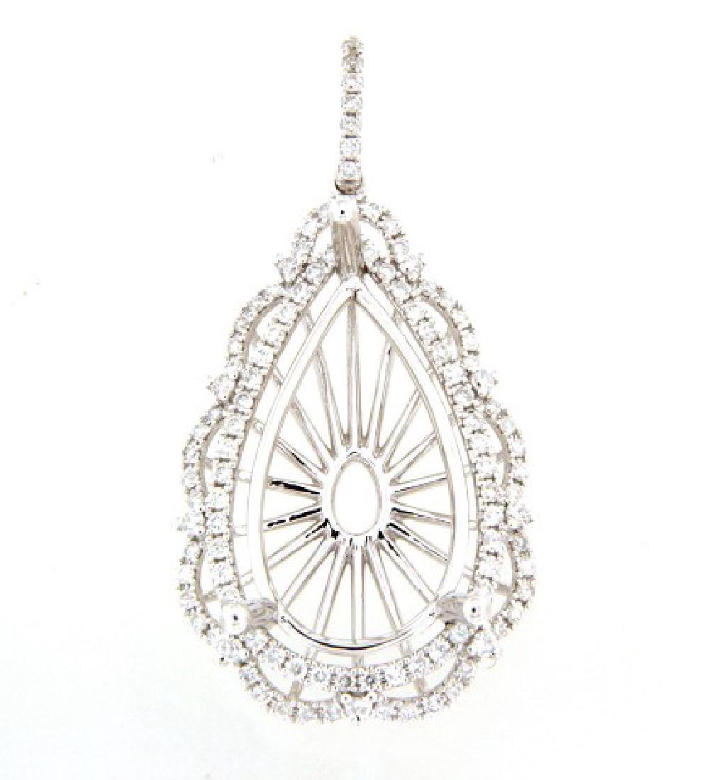 0.95 CTW Diamond Semi Mount  Necklace in 14K White Gold
