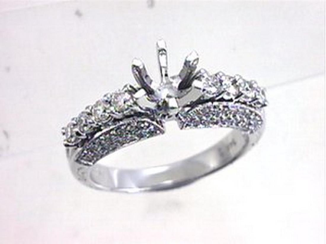 0.76 CTW Diamond Semi Mount  Ring in 14K White Gold