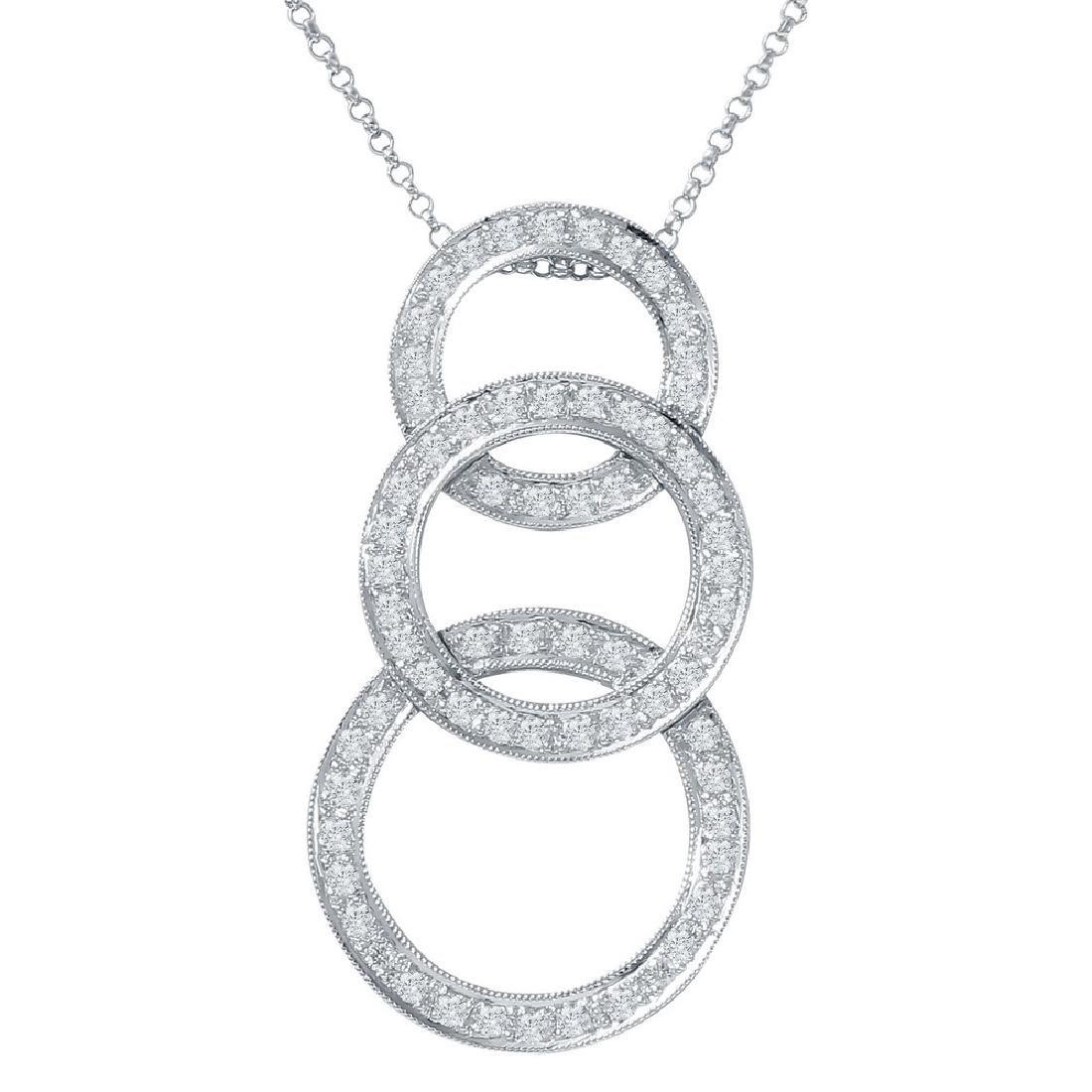 0.79 CTW Diamond Slider Necklace in 18K White Gold