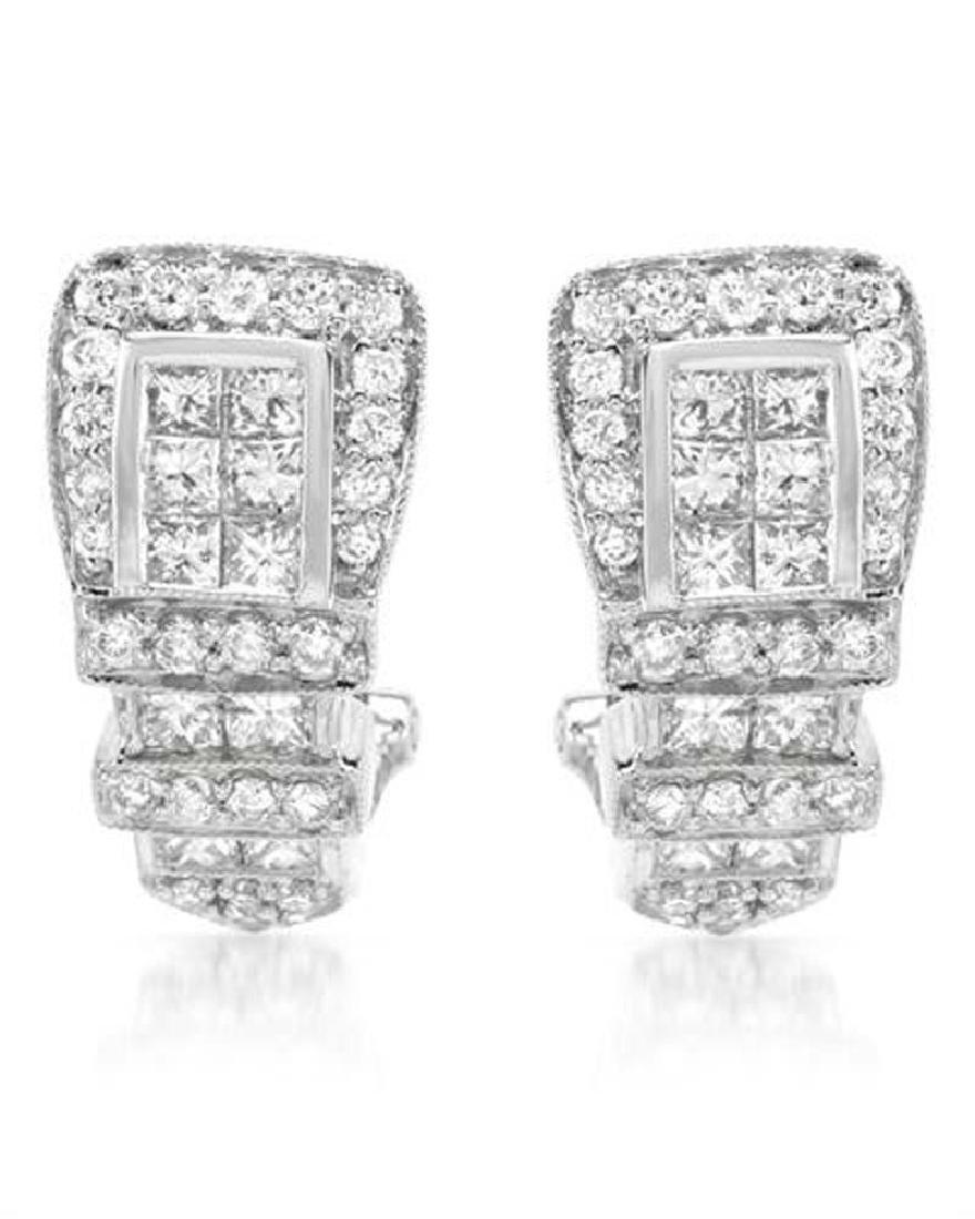 1.43 CTW Diamond Huggy  Earring in 18K White Gold