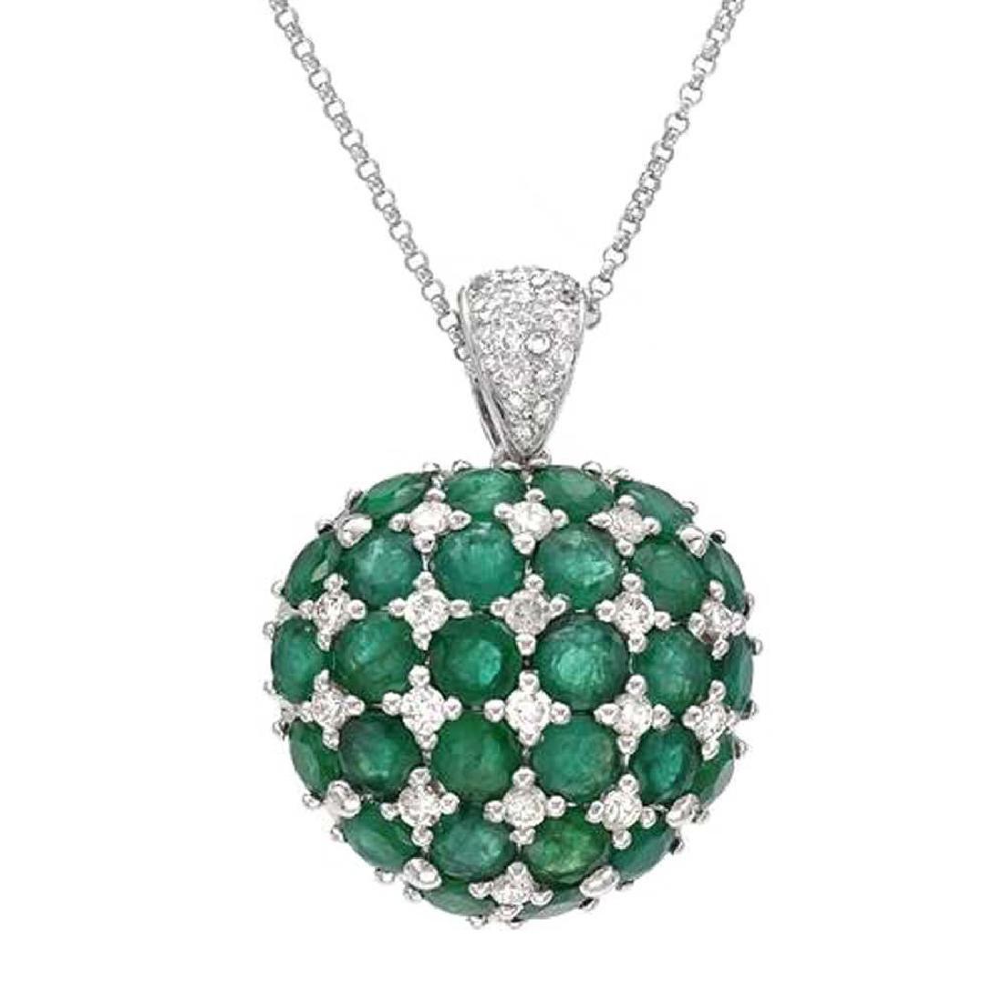 7.99 CTW Emerald Slider Necklace in 14K White Gold