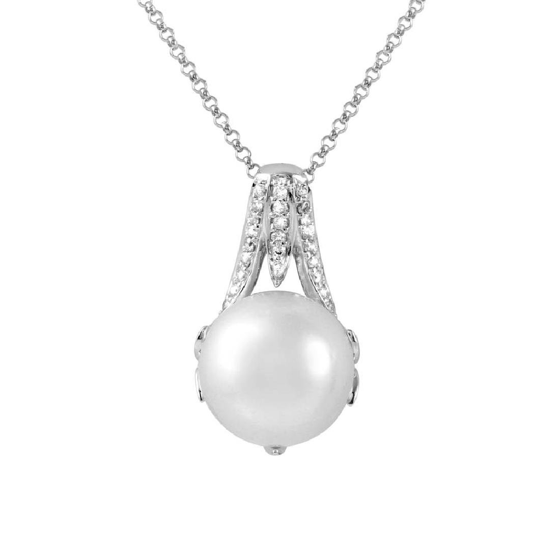 10.53 CTW Pearl Pearl  Necklace in 14K White Gold
