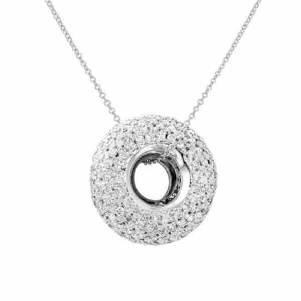 1.66 CTW Diamond Slider w/ Chain Necklace in 18K White