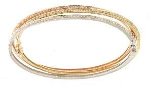 295 CTW Diamond Bangle Bracelet in 14K Two Tone Yellow