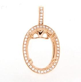 0.35 CTW Diamond Semi Mount  Necklace in 14K Rose Gold