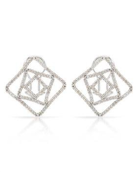 0.94 CTW Diamond Button  Earring in 14K White Gold