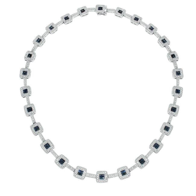 8.92 CTW Sapphire Gemstone  Necklace in 14K White Gold